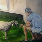 Hana Rusi Xhaxhi and the Goat.jpeg
