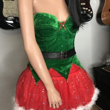 déguisement lutine de Noël bustier et jupe