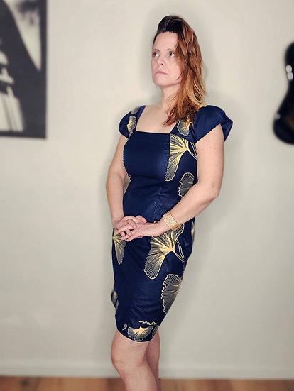 robe en wax bleu marine fait main en Belgique