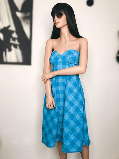 Robe estivale bustier imprimé tartan bleu fait main en Belgique