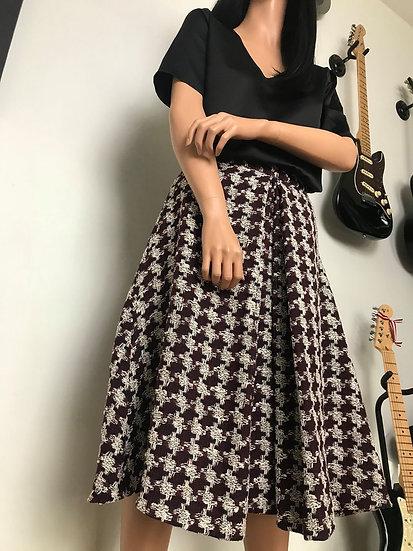 jupe tweed pied-de-coq couture sur mesure Tournai