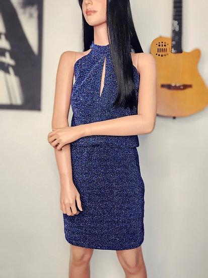robe de soirée courte décolleté licou en maille bleue lurex fait main en Belgique