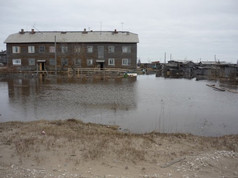 Flood caused by an ice jam, May 2008