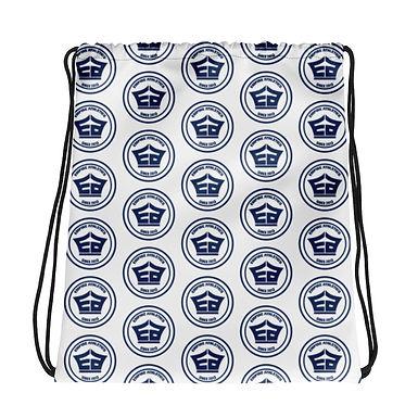 White EA Pattern Drawstring bag