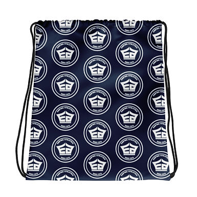 Navy EA Pattern Drawstring bag