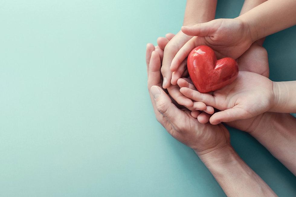 hands holding red heart, heart health, d