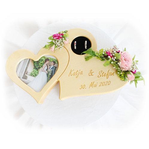 Ringkissen Herzen mit Foto personalisiert