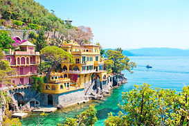 Beautiful sea coast with colorful houses