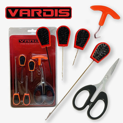VARDIS 6PC BAITING/TOOL SET 4 BAITING TOOLS SCISSORS KNOT PULLER CARP FISHING