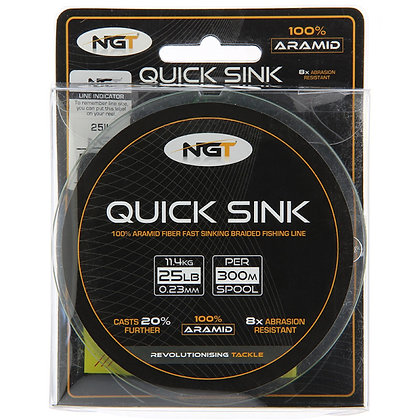 NGT 300m Spool Of 'Quick Sink' Moss Green 25lb Bra