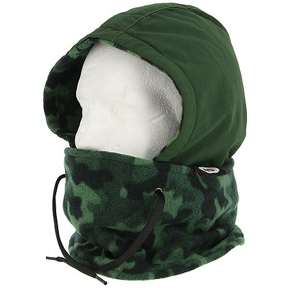 NGT DLX Camo Snood - Fleece Lined Water and Wind Proof Camo Snood with Face Guar