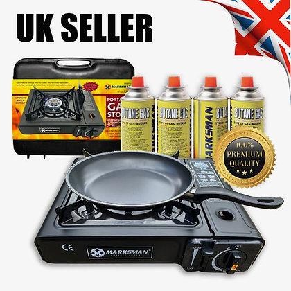 Portable Gas Stove Cooker Burner Camping Garden & 4 Butane Non Stick Pan !!!!!!