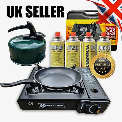 Portable Gas Stove Cooker Burner Camping Garden 4 Butane Non Stick Pan Kettle