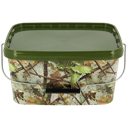 5 Litre NGT Square Camo Bucket with Metal Handle