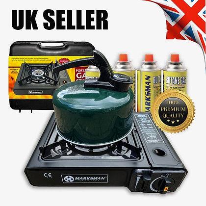 Portable Gas Stove Cooker Burner Camping Garden & 4 Butane Kettle Survival
