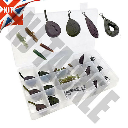12 x CARP FISHING WEIGHTS LEADS WITH SWIVEL 1.5-2.5oz LEAD FLAT PEAR BOXED