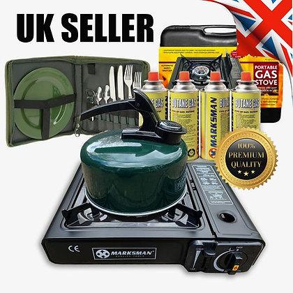 Portable Gas Stove Cooker Burner Camping Garden & 4 Butane Kettle Cutlery Set !!