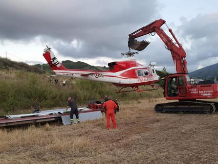 Recuperato l'elicottero atterrato per un'avaria a Santa Maria del Cedro