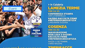 Matteo Salvini in Calabria: nel lametino, a Cosenza e sullo Jonio