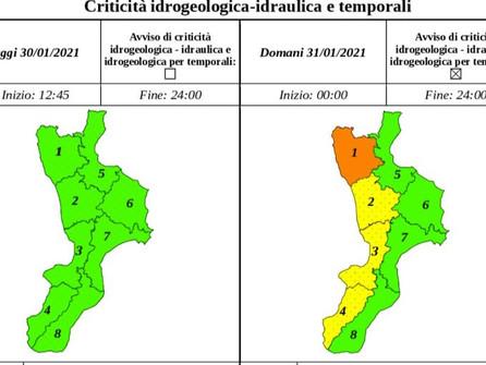 Allerta arancione per il 31 gennaio nell'area dell'alto Tirreno cosentino
