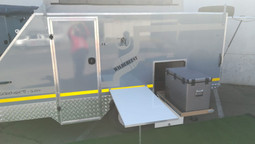 Pull out fridge and table