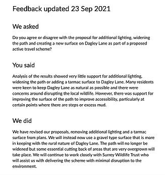 Dagley Lane SCC response