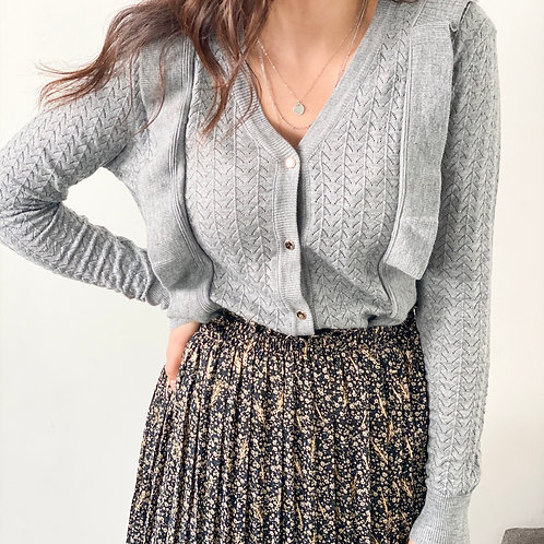 GILET/ PULL MAGGIE GRIS