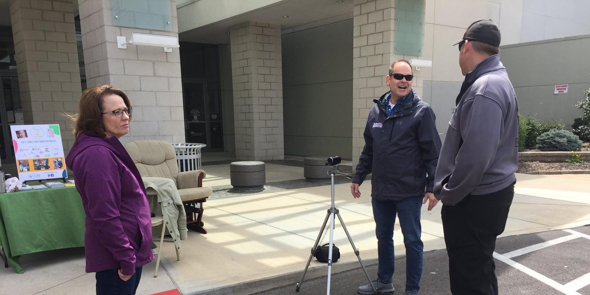 KSDK's Scott Cornell interviewing Kyle Gaines