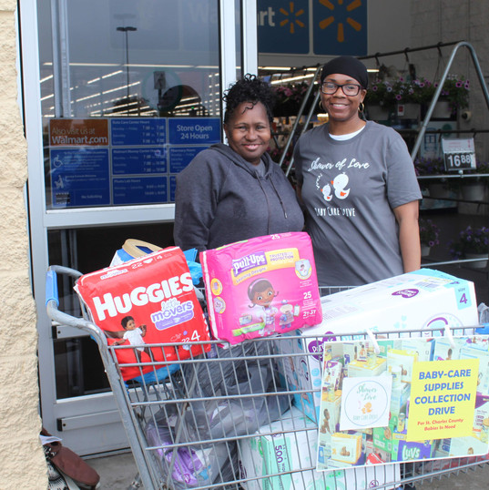 Collecting diapers and wipes for moms & babies