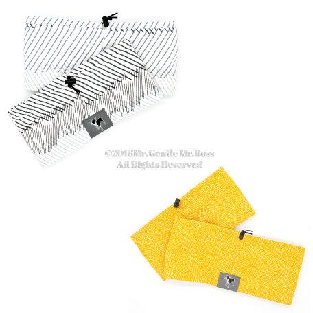 Graphic Cotton ホワイト/幾何学模様イエロークールスヌード《保冷剤入れるタイプ》