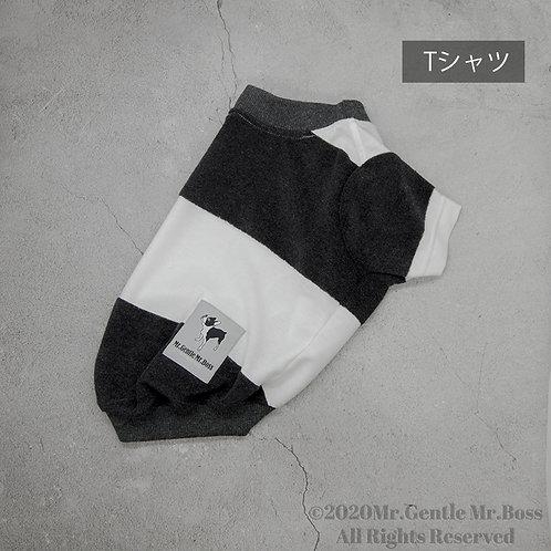 Charcoal×White片面パイルビッグボーダーT-shirtタイプ