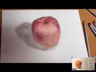りんご 色鉛筆 生徒さん作