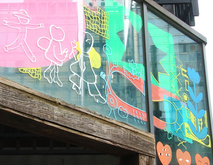 Window art painting @shinjyuku