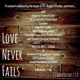 Love Never Fails Concert Flyer