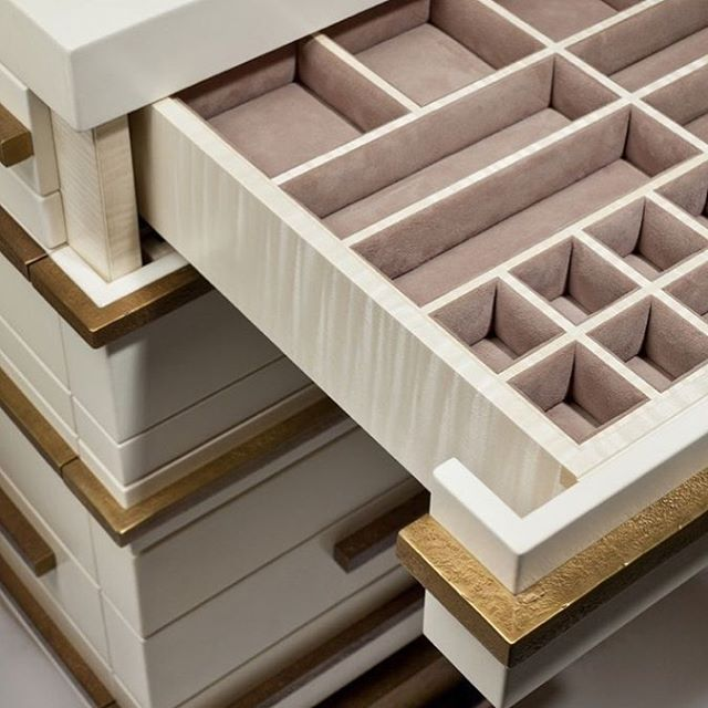 Jewellery drawer details #suede #interiordesign #details