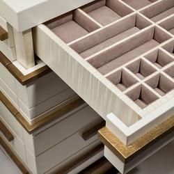 Jewellery drawer details #suede #interiordesign #details