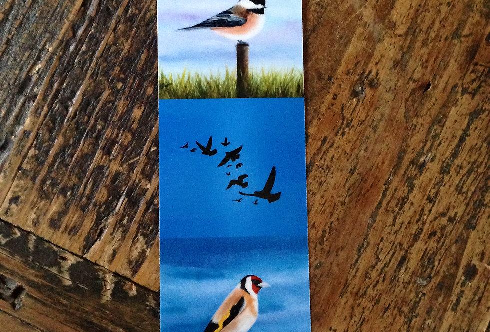 Marque page oiseaux sur fond bleu