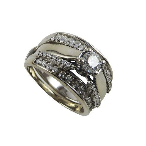 Anillo Diamantes oro blanco 14k