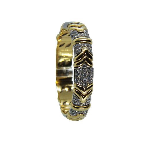 Brazalete con diamantes dos tonos oro amarillo 18k