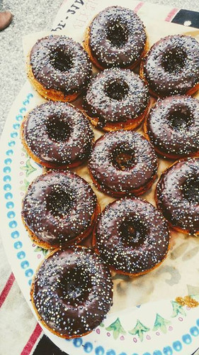 Chocolate-dunked Yellow Cake Donuts