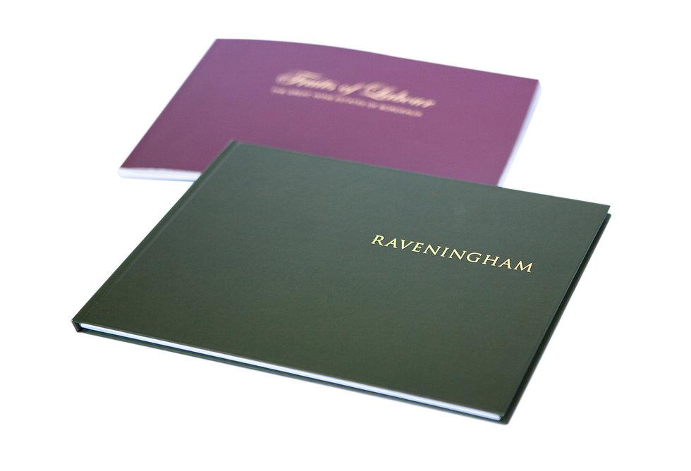 Raveningham book and Jonathan Warrender catalogue design, A Drewitt Design