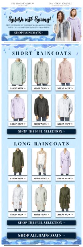 Raincoat Retail Email