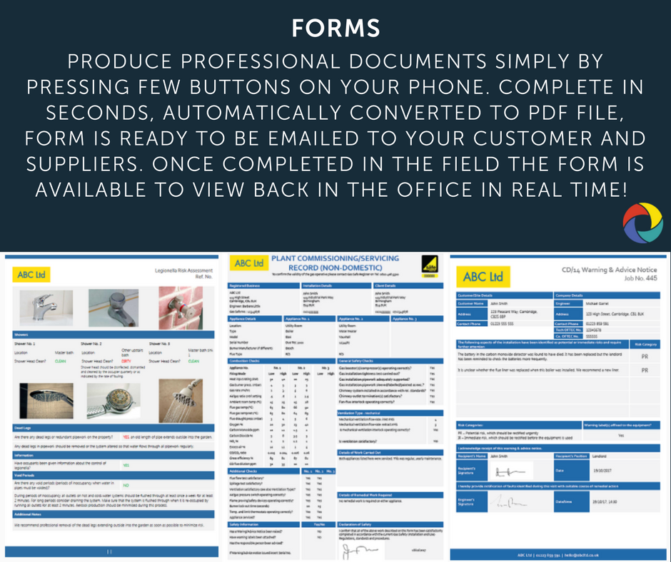 Produce professional documents simply by pressing few buttons on your phone. Complete in seconds, automatically converted to pdf file, form is ready to be emailed to your customer and suppliers. Once completed in the field the form is available to view back in the office in real time!
