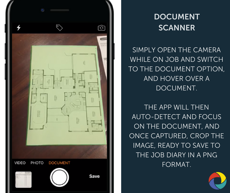Simply open the camera while on job and switch to the Document option, and hover over a document.   The App will then  auto-detect and focus on the document, and once captured, crop the image, ready to save to the job diary in a PNG format