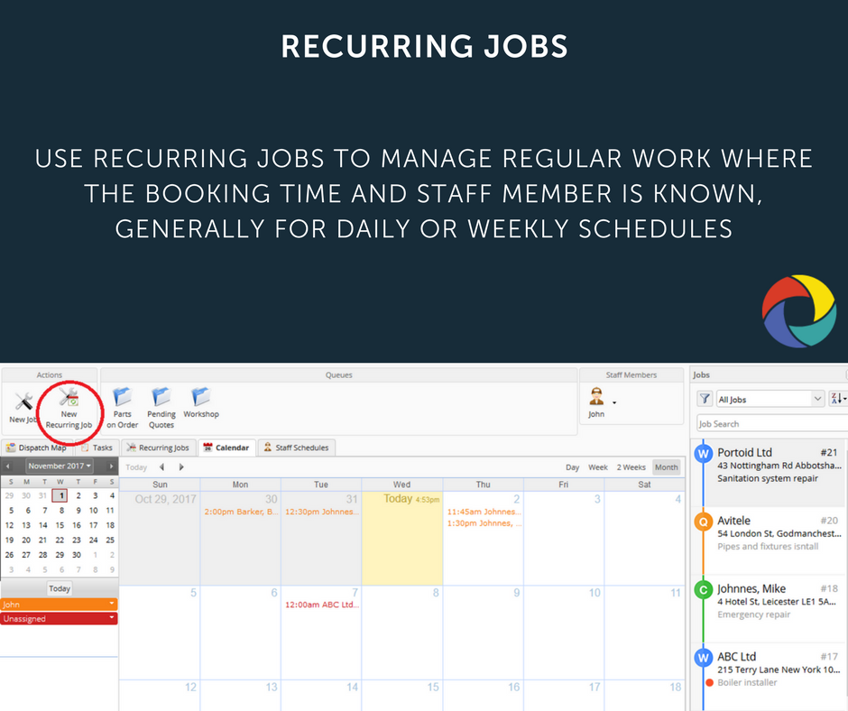 Use Recurring Jobs to manage regular work where the booking time and staff member is known, generally for daily or weekly schedules