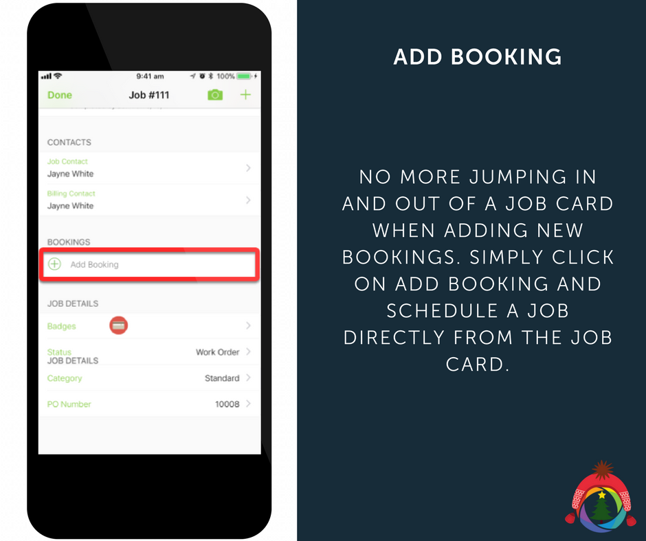 No more jumping in and out of a job card when adding new bookings. Simply click on Add Booking and schedule a job directly from the job card.