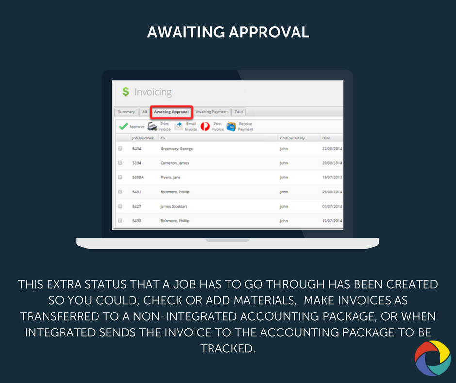 This extra status that a job has to go through has been created so you could, check or add materials,  make invoices as transferred to a non-integrated accounting package, or when integrated sends the invoice to the accounting package to be tracked.