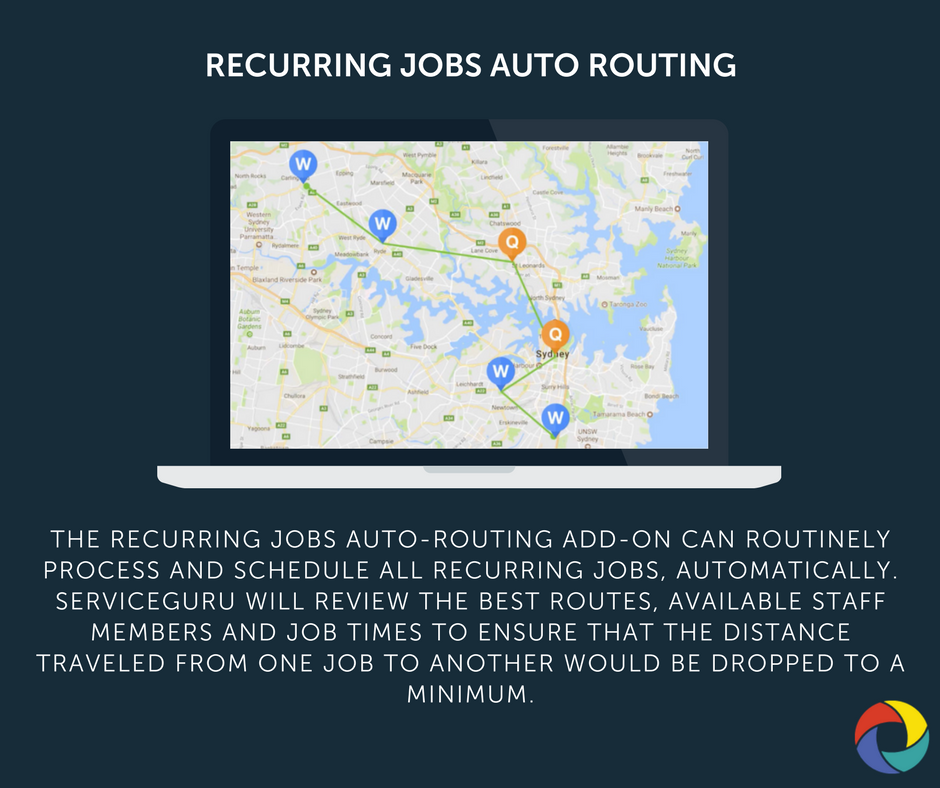 The Recurring Jobs Auto-Routing Add-on can routinely process and schedule all recurring jobs, automatically. ServiceGuru will review the best routes, available staff members and job times to ensure that the distance TRAVELED from one job to another would be dropped to a minimum.