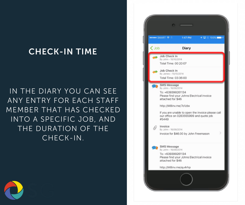 In the diary you can see any entry for each staff member that has checked into a specific job, and the duration of the check-in.