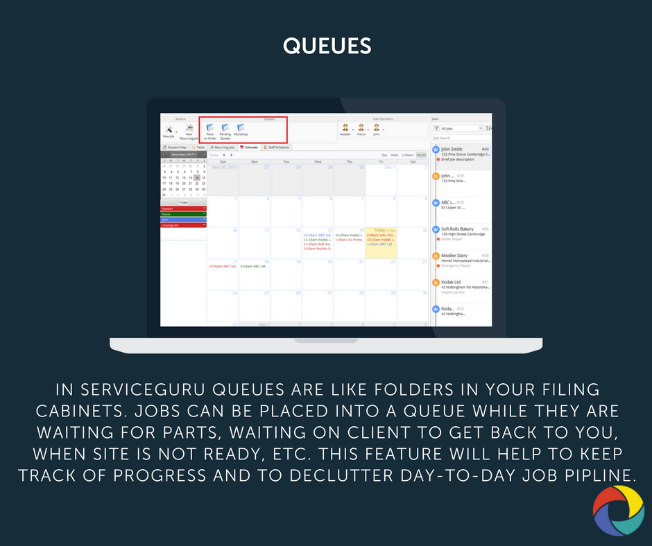 In ServiceGuru queues are like folders in your filing cabinets. Jobs can be placed into a queue while they are waiting for parts, waiting on client to get back to you, when site is not ready, etc. This feature will help to keep track of progress and to declutter day-to-day job pipline.